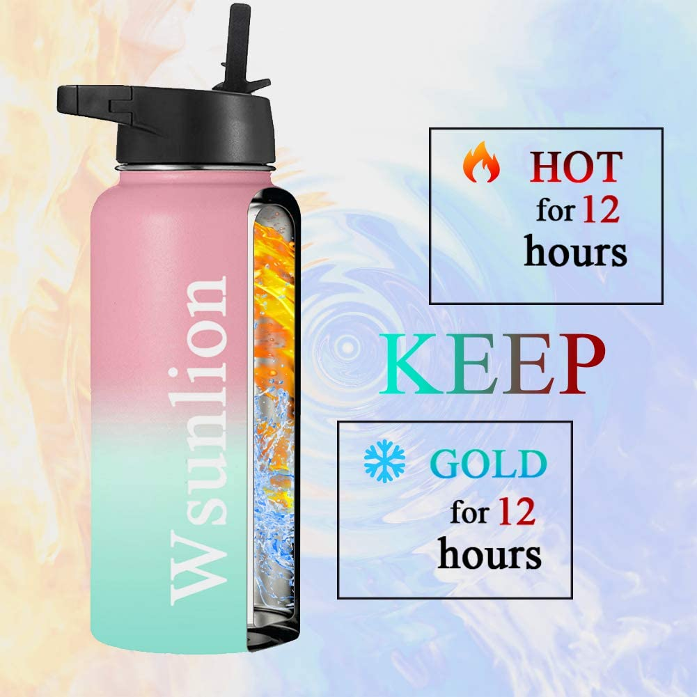 Stainless Steel Vacuum Insulated Water Bottle Double Wall Leak Proof Great for Bike and Outdoor Sports Wsunlion Insulated Water Bottle with Straw 32oz 2 Lids