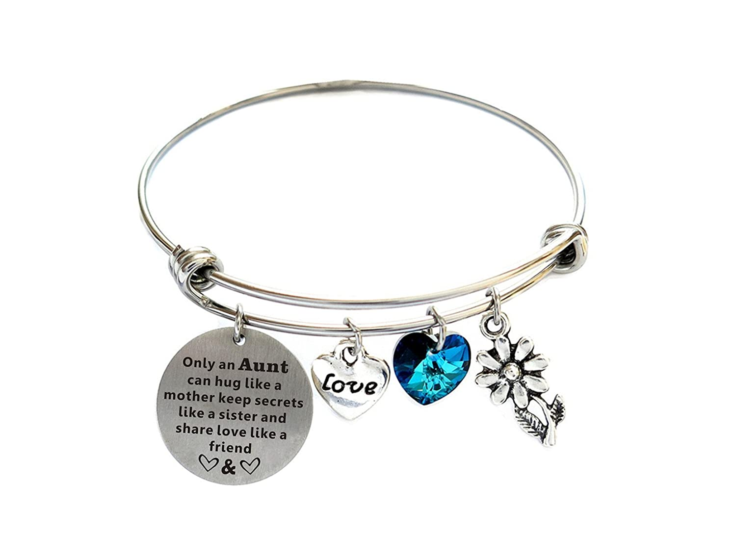 Christmas Gifts For Aunt Stainless Steel Expandable Bangle Bracelet With Blue Love Crystal Charm Aunt Gifts From Niece Mother's Day Gifts For Aunt