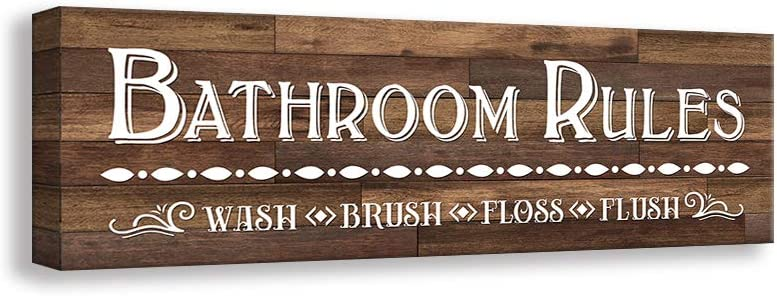 Kas Home Vintage Bath Canvas Wall Art   Rustic Bathroom Rules Prints Signs Framed   Bathroom Laundry Room Decor (5.5 X 16.5 inch, Bathroom - 1)