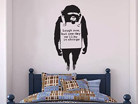 Banksy Wall Decal   Monkey Laugh One Day Now Wall Decal, Banksy Decal    Banksy