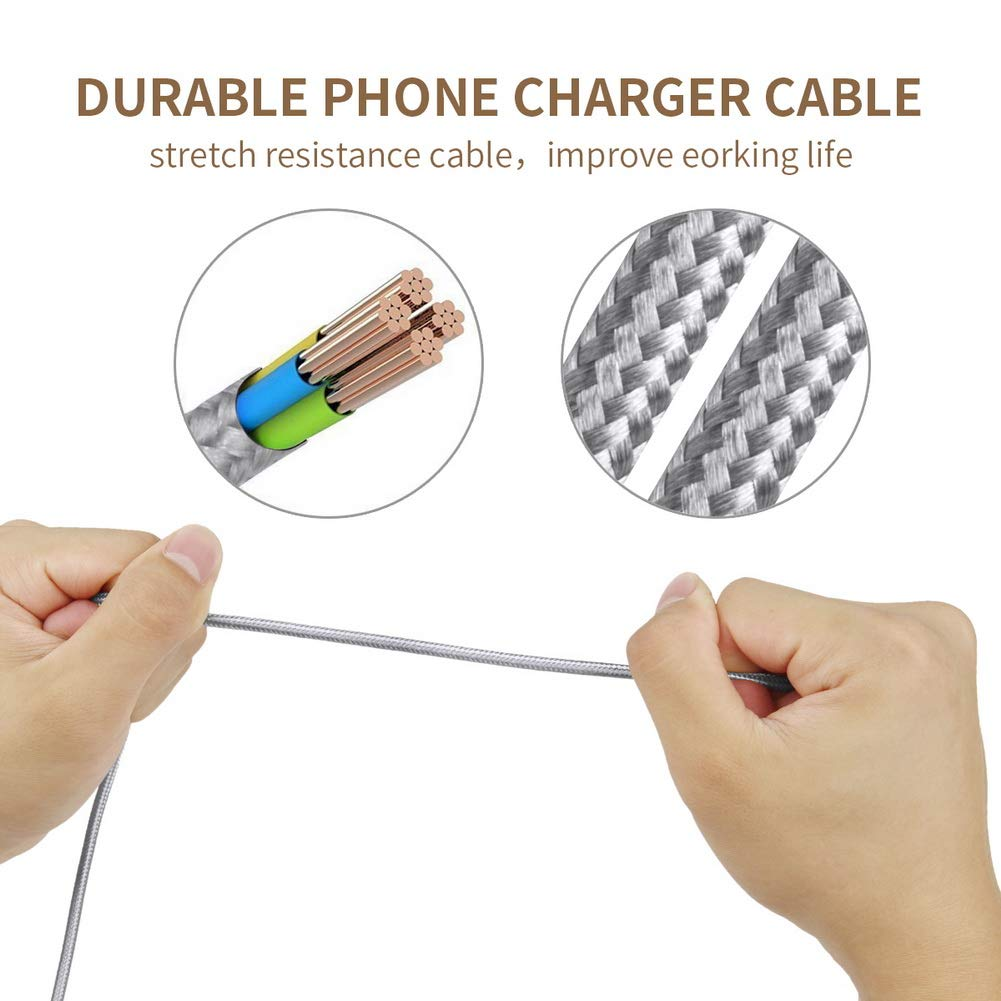 Niusute Phone Cable 3 Pack 6 ft Extra Long Nylon Braided Charging Charger Cord USB Cable,Grey
