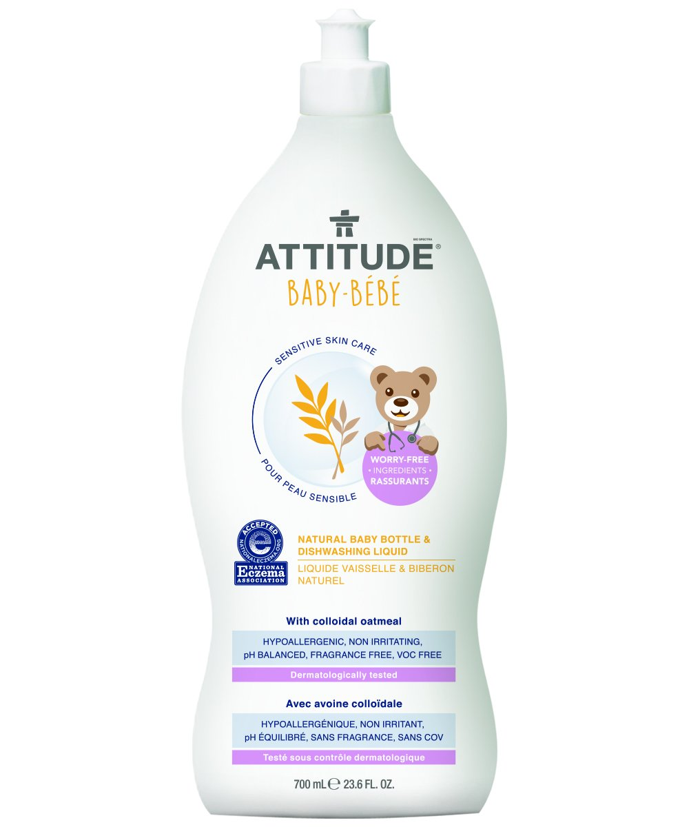 Attitude Natural Baby Bottle & Dishwashing Liquid, Fragrance Free, 23.6 Fluid Ounce
