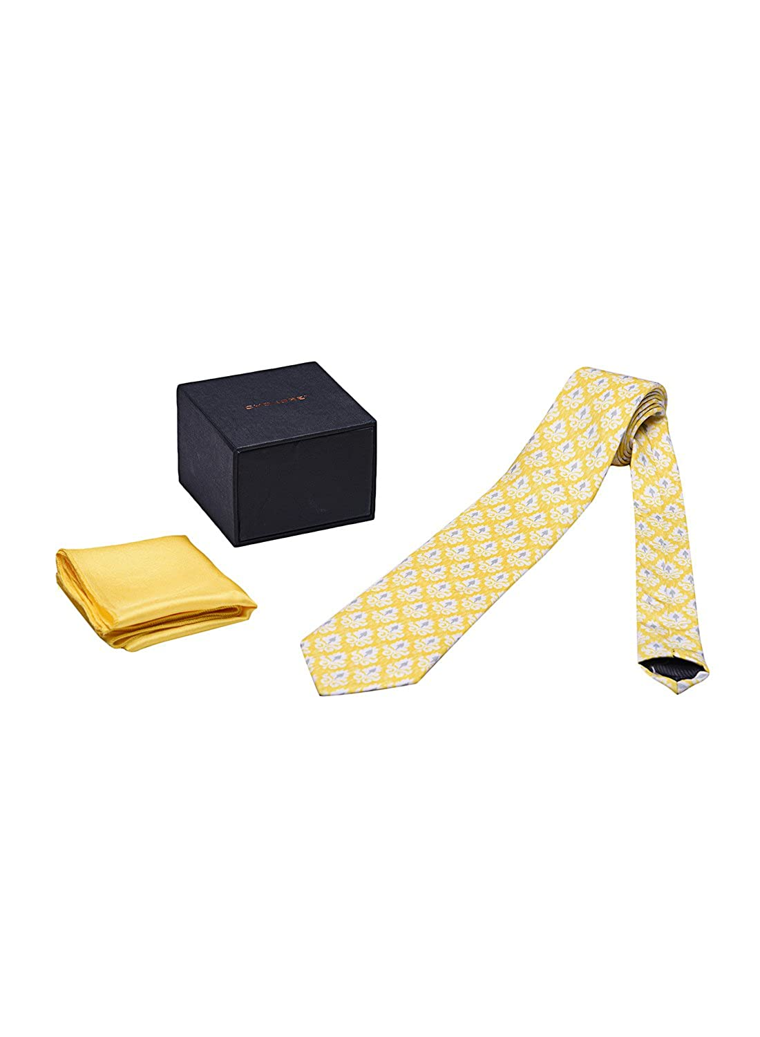 Chokore Lemon-White Silk Tie /& Yellow pocket square set