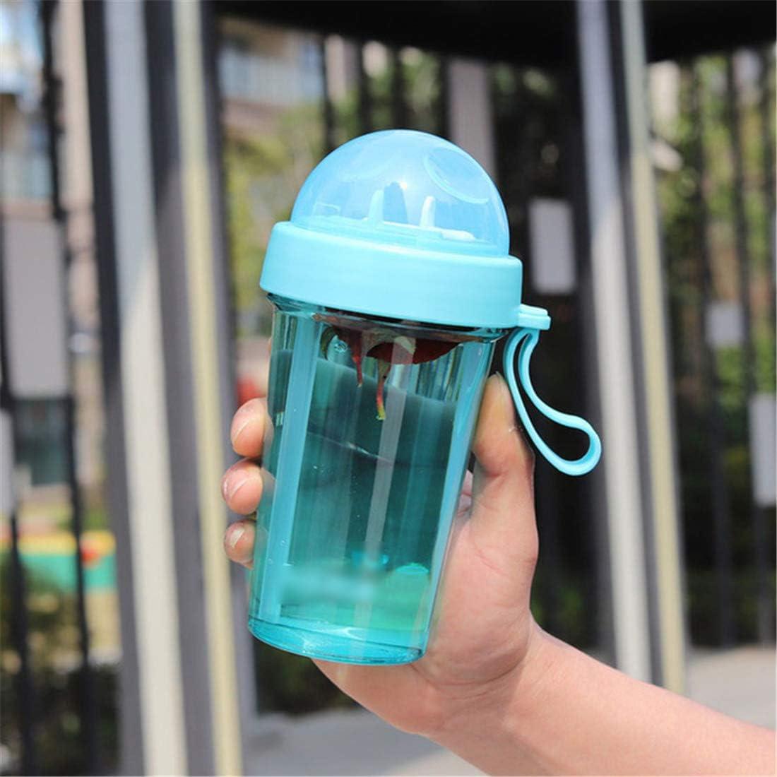 HMJ Copa de Metal Copa de Paja Botella de Bebida de plástico Fitness Taza de Agua al Aire Libre 600 ml Azul Cielo