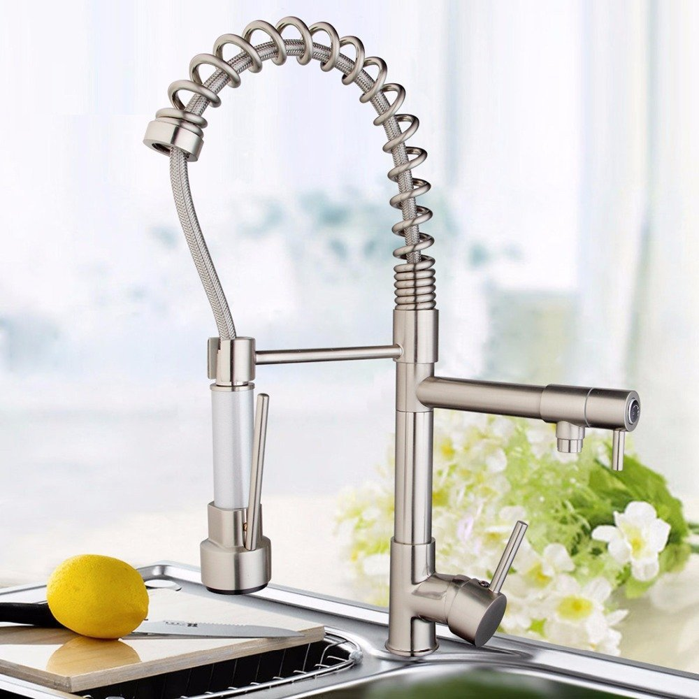 Pull out spout dual modern kitchen-taps torn Eira Da Cozinha mounted sprayer bridge brushed nickel fixtures