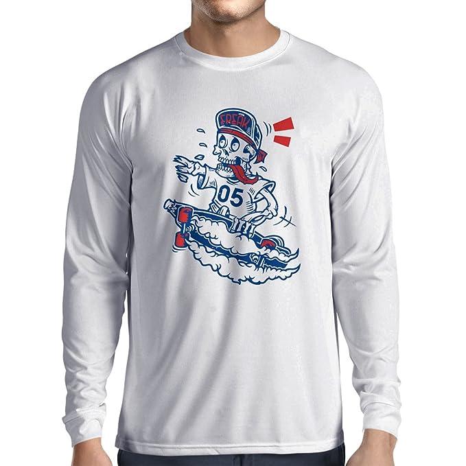 lepni.me Camisetas Hombre el Patinador del Cráneo, Engranaje del Patín, Skater, Ropa Urbana de La Calle, Idea Fresca de Los Regalos