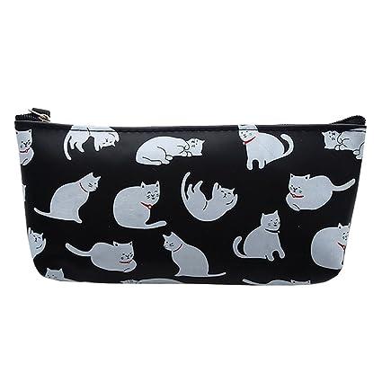 Cdet Estuche de lápices de silicona para gatos bolsa de organizador de almacenamiento de papelería Caja