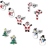 Kids Christmas Stud Earring Set - Pack of 5 Pairs Hypoallergenic Christmas Gift Earrings for Girls Teens Women, Including Red Santa Claus, Candy Cane, White Snowman, Green Christmas Tree Cute Earring
