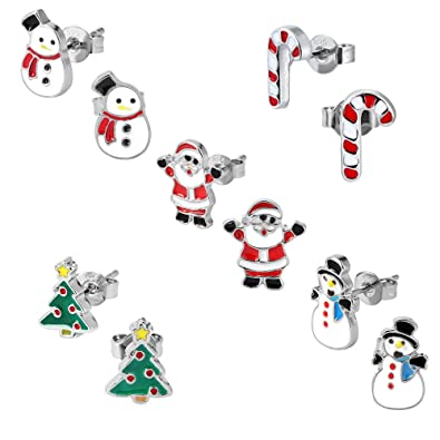 7e76f2dd5c412 Kids Christmas Stud Earring Set - Pack of 5 Pairs Hypoallergenic Christmas  Gift Earrings for Girls Teens Women, Including Red Santa Claus, Candy Cane,  ...