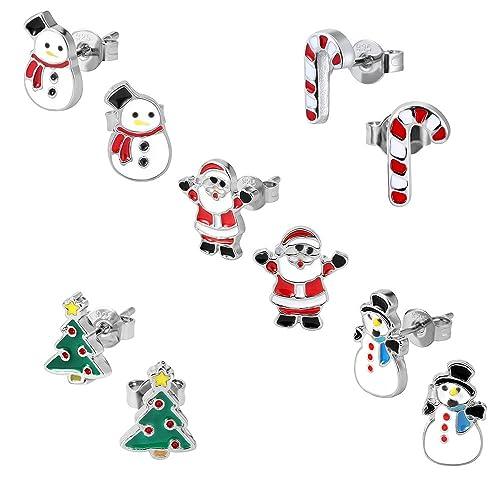 Juego De Pendientes De Navidad Para Ninos Paquete De 5 Pares