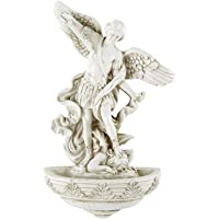 Catholic Hanging Wall Decoration, Saint Michael Archangel Stone Finish Holy Water Font, Religious Home Decor, 9 Inches