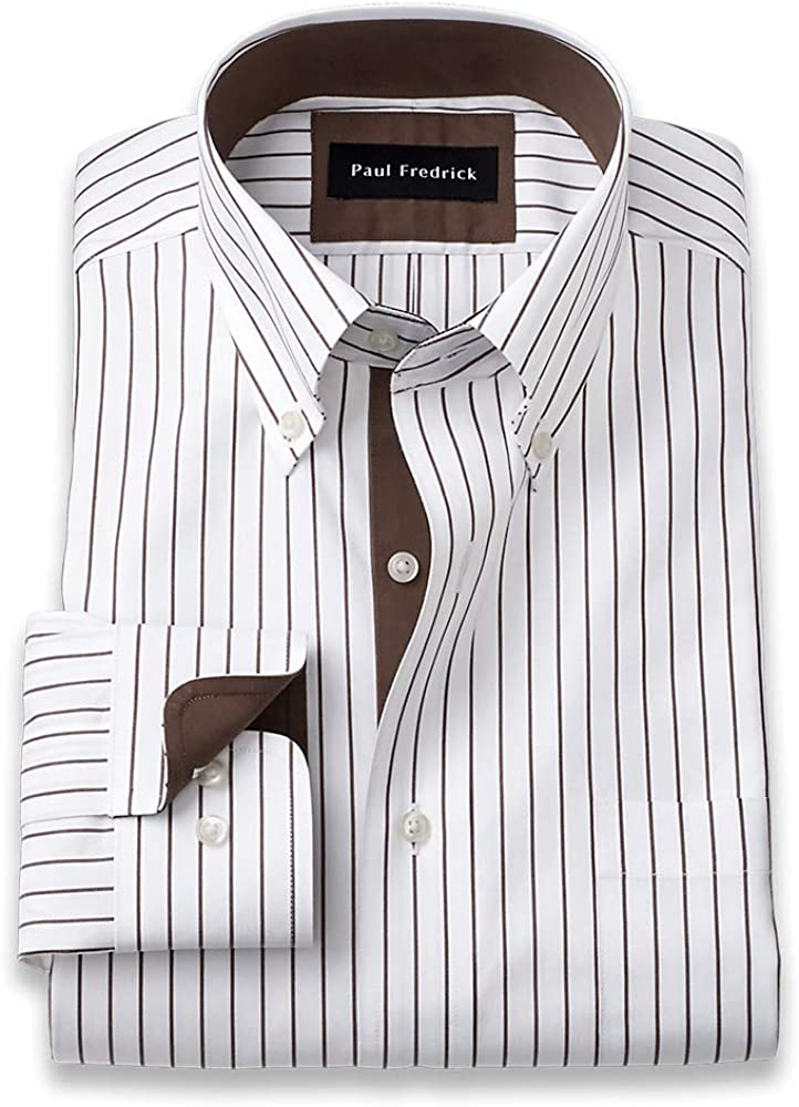 1920s Men's Shirts and Collars History Paul Fredrick Mens Classic Fit Non-Iron Cotton Stripe Dress Shirt $95.00 AT vintagedancer.com