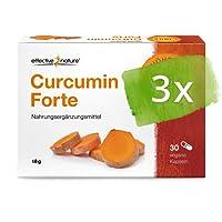 Curcumin Forte Kapseln - Flüssiger Extrakt aus der Kurkuma Wurzel - Hohe Bioverfügbarkeit durch Mizellen Technologie (3 x 30 Stück)