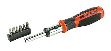 Black+Decker BDHT0-62129 BDHT0-62129-Destornillador de carraca con 6 multipuntas Intercambiables