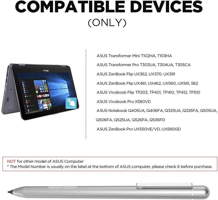 ZenBook UX560UA UX561UA Stylus Digital Pen for ASUS Transformer T102HA T103HA T303UA T305CA T304UA Silver Vivobook TP510UA TP203NA TP401NA with 1024 Levels of Pressure Sensitivity