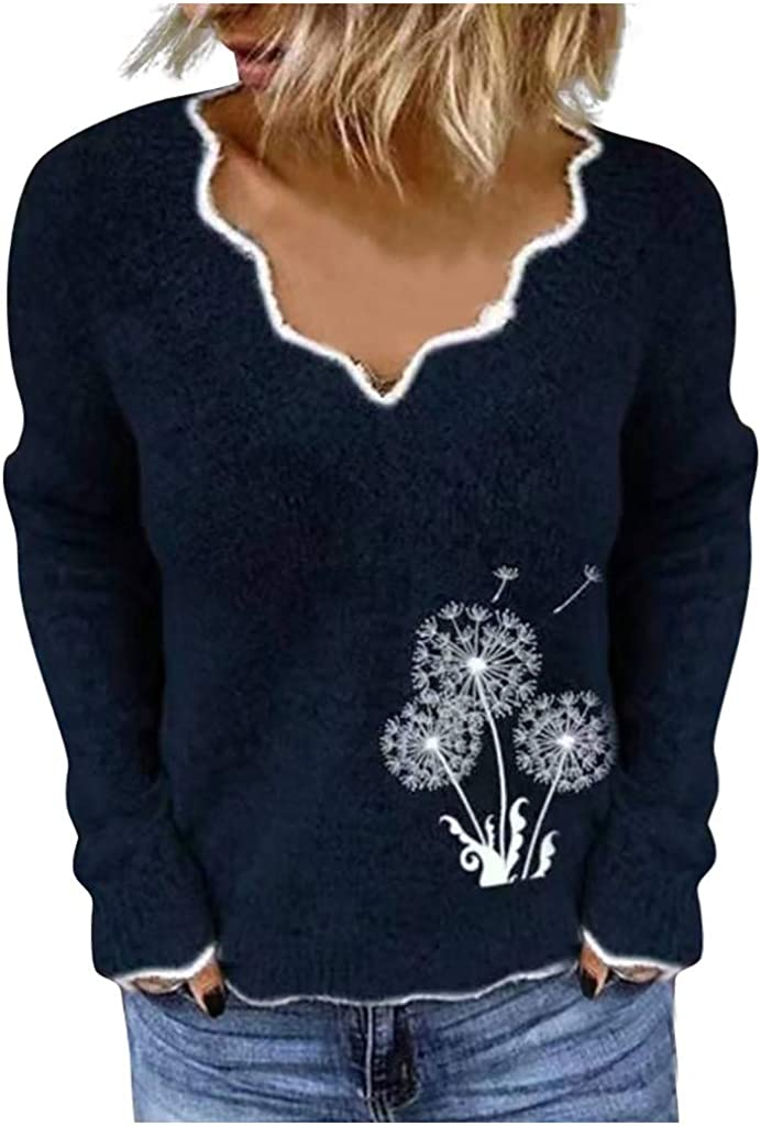 Meikosks Ladies Knitted Tops Long Sleeve V-Neck Sweater Slim Fit Blouses Dandelion Print Shirt