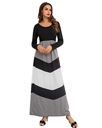 Giking Women S Casual 3 4 Sleeve Striped Floral Pleated Long Maxi