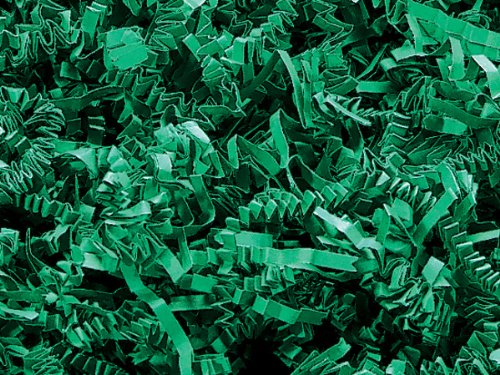 Green Crinkle Cut Paper Shred 8 oz Bag ~ Spring-fill Shred (Ten 8 oz. Packs) - WRAPS-ZF08GN
