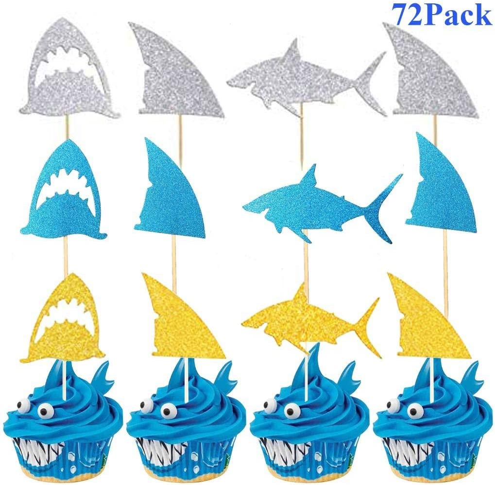 Playstyle Glitter Shark Cupcake Toppers, Shark Fin Cupcake Toppers, Shark Fin Food Picks, Ocean Animals Themed Party Supplies, Shark Baby Shower Birthday Party Decorations (72 Pack, Multicolors)