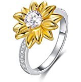 925 Sterling Silver Sunflower Ring Cubic Zirconia Stacking Ring You Are My Sunshine Ring for Women