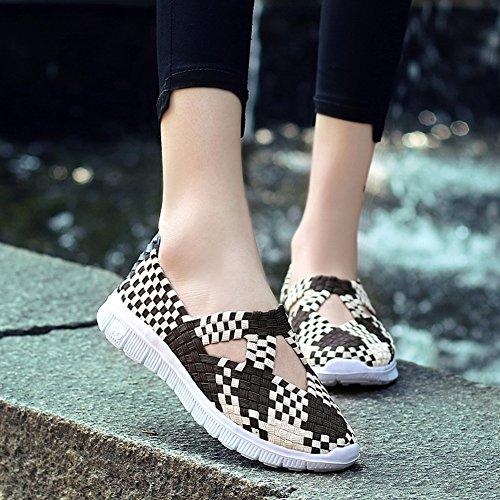 Scarpe Da Donna Intrecciate Scivolano Su Sneakers Fatte A Mano, Scarpe Da Passeggio Leggere, Marrone