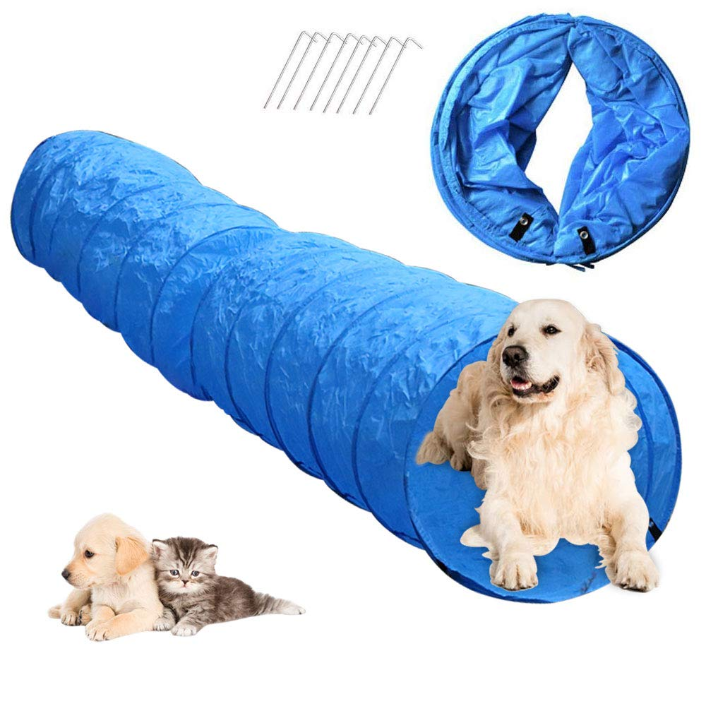 Cossy Home Collapsible Dog Tunnel Tube Kitty Tunnel Pet Toys Peek Hole for Cats, Puppy, Dogs, Kittens, Rabbits (3 Size) (16.5 ft) by Cossy Home