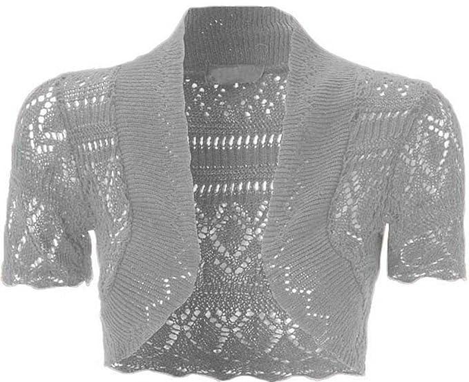 mujeres nuevo Crochet parte delantera abierta Short Sleeve ...