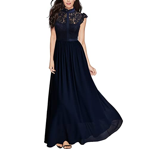 MIUSOL Womens Sleeveless Lace Collar Long Evening Dress