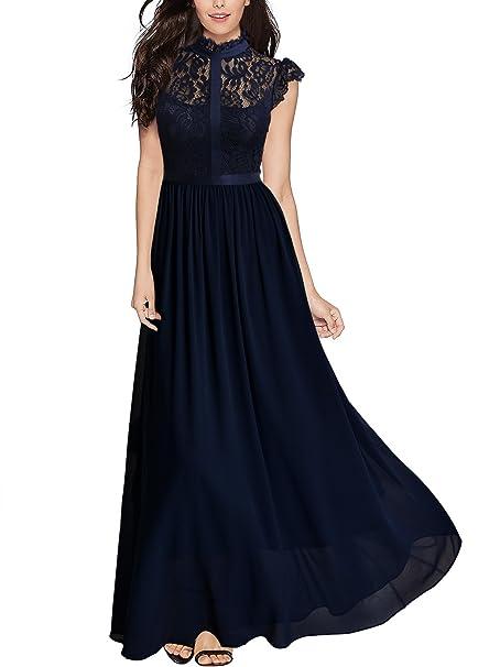 Miusol Vintage Gasa Encaje Fiesta Vestido Largo para Mujer Azul Small