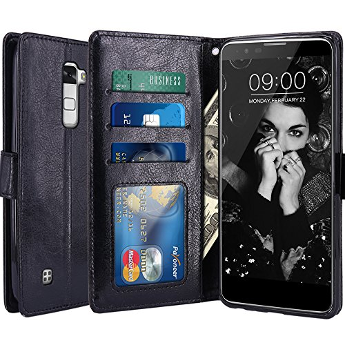2 Leather Black Wallet (LG Stylo 2 Case, LG Stylo 2 V Case, LK Luxury PU Leather Wallet Flip Protective Case Cover with Card Slots & Stand For LG Stylo 2 / LG Stylo 2 V (Black))