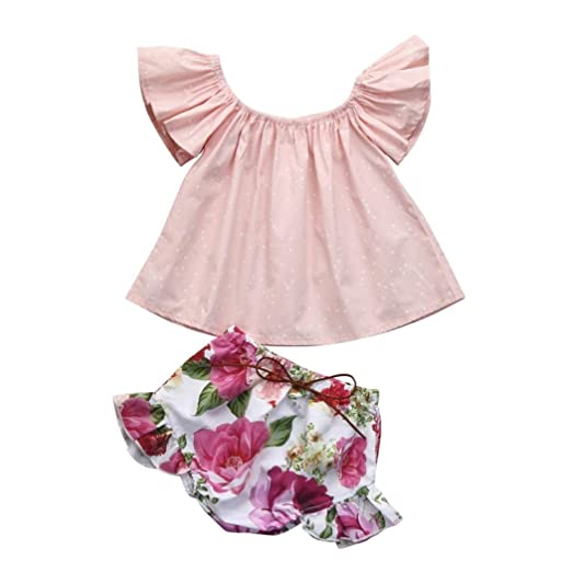 b3a4f91f0d4 Goodlock Toddler Infant Fashion Clothes Set Baby Girls Flare Floral Clothes  Tops+Shorts Set Outfits