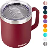 SUNWILL 14 oz Coffee Mug, Vacuum Insulated Camping Mug with Lid, Double Wall Stainless Steel Travel Tumbler Cup, Coffee Thermos Outdoor, Powder Coated Wine Red