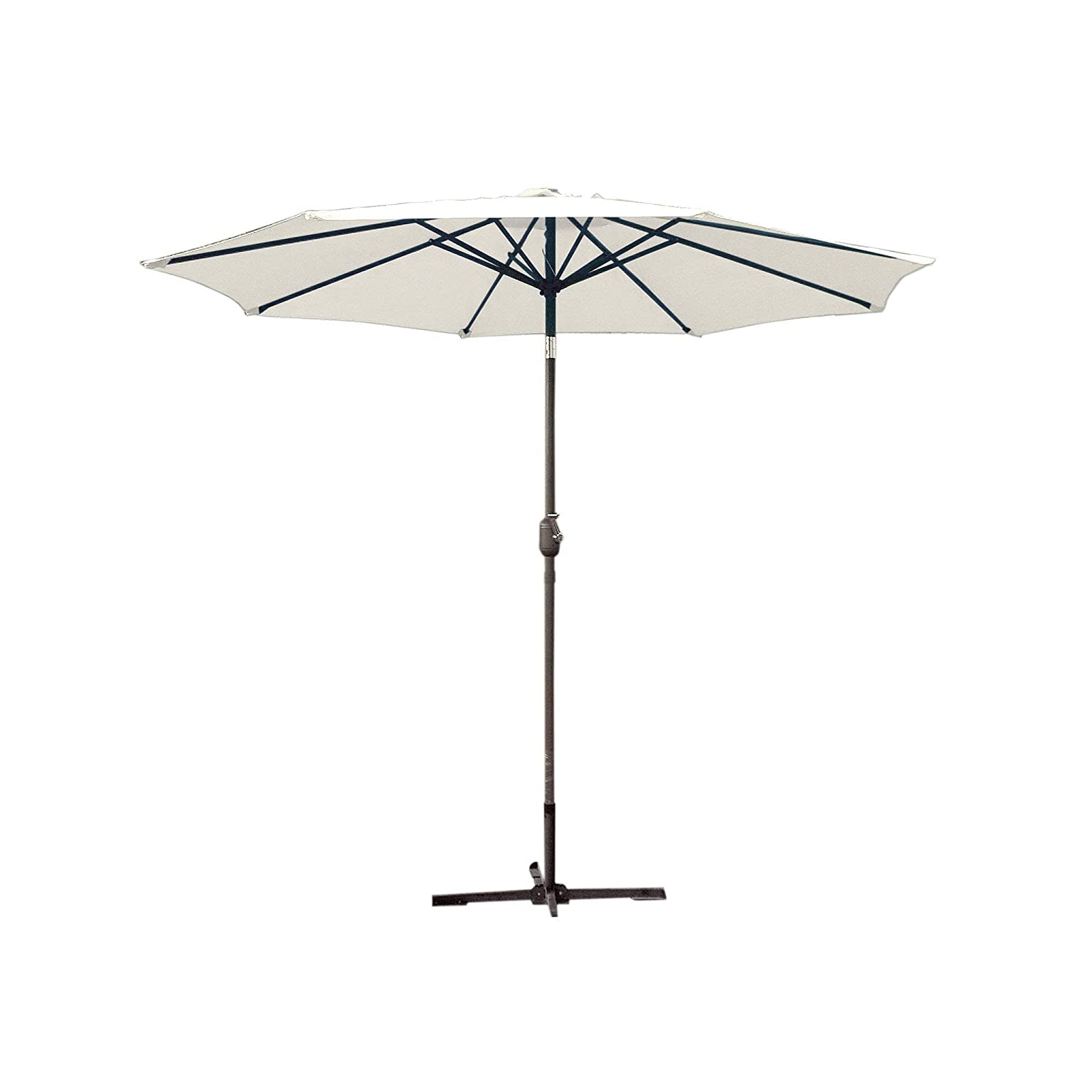 Jeco UBP95-UBF92 Aluminum Patio Market Umbrella Tilt with Crank Fabric Grey Pole, 9 , Tan
