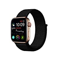 Haotop Replacement Bands Compatible with Apple Watch,Woven Nylon Sport Loop Band Wristband Replacement Bracelet for iWatch Straps Series 4/3/2/1 (42MM/44MM, Dark Black)