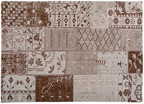 Vintage Teppich Alfombra, Algodón, Beige y marrón, 140 x 200 cm: Amazon.es: Hogar