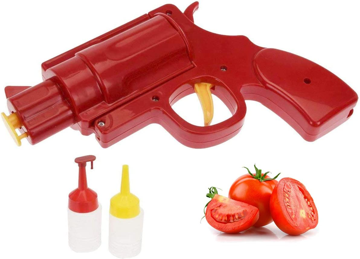 Novelty Condiment Shooter Dispenser – Plastic Ketchup Mustard BBQ Hot Sauce Container Squeeze Gun Shaped Bottle Funny Seasoning Tool
