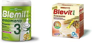 Blemil Plus Leche - Pack de 2 x 800 g - Total: 1600 g + Blevit Plus 5 Cereales para bebé - Pack de 2 x 300 g - Total: 600 g: Amazon.es: Alimentación y bebidas