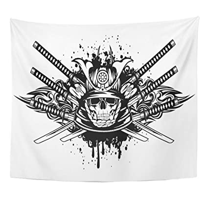 "97621d0fd Emvency Tapestry 50""x60"" Mandala Indian hippie wall hangings  Tribal Skull In Samurai Helmet"