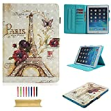 Uliking iPad 9.7'' 2018/2017 (iPad 6th Gen, iPad 5th Gen)/iPad Air/iPad Air 2 Case, Slim Folio Stand Wallet Synthetic Leather Smart Auto Sleep Wake Cover with Card/Pencil Holder, Paris Eiffel Tower