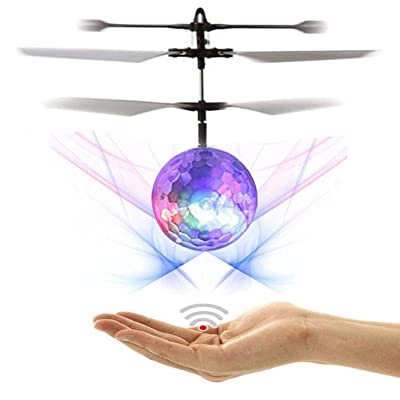 NiGHT LiONS TECH Novelty RC Toy, RC Flying Ball, RC Infrared Induction Helicopter Ball Built-in Shinning LED Lighting for Kids, Teenagers Indoor and Outdoor Games ,Colorful Flyings for Kid's Toy Gift: Toys & Games