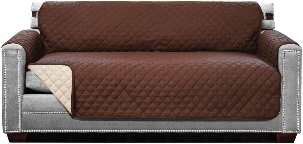 Sofa Shield Original Patent Pending Reversible Large Sofa Protector, Many Colors, Seat Width to 70 Inch, Furniture Slipcover 2 Inch Strap, Couch Slip Cover Throw for Pets, Dogs, Cats, Chocolate Beige: Home & Kitchen