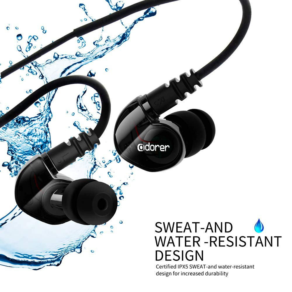 Adorer Sport Earphones RX6 Noise Isolating Wired In-Ear Headphones with Microphone IPX4 Sweatproof for Running,Gym and Outdoor Sports - Black