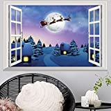 Merry Christmas Wall Decor Decals Santa Removable Home Decor 3D Wall Stickers for Christmas Celebration 19.4 x 28.8 inch