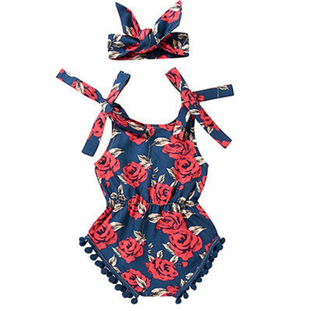 Cute Baby Girl Floral Infant Rompers Jumpsuit Headband Clothing Outfits