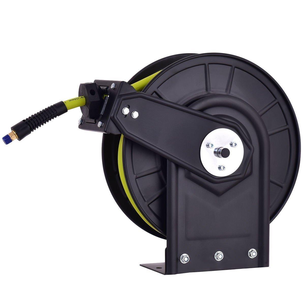 Goplus Air Hose Reel Auto Rewind Steel Compressor Hose w/ Retractable 3/8'' x 50' Rubber Hose, Max.300 PSI