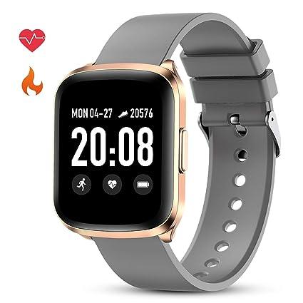 GOKOO Smartwatch Reloj Inteligente Impermeable IP68 Deportivo Pulsera Actividad Hombre Mujer Pantalla Táctil Completa Cronómetro Podómetro Pulsómetro ...