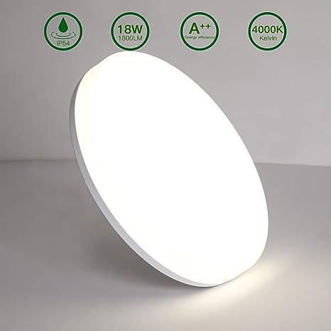 Aogled LED Lámpara de Techo 18W 1800LM 4000K Blanco Natural Plafón de Techo Redondo 22 cm,No-Regulable Luz de Techo Permeable IP54,180 Ángulo LED ...