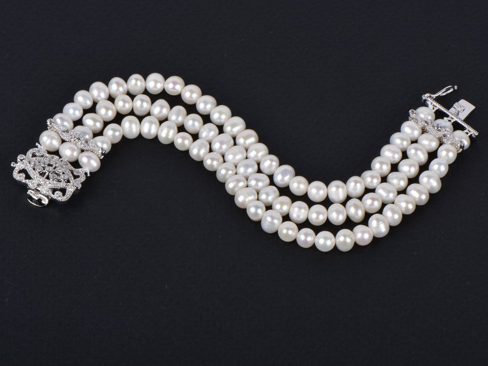 Mariell Genuine Freshwater Pearl 3-Strand Bridal Bracelet - Luxe 3-Row Pearl Bracelet with CZ Clasp by Mariell (Image #6)
