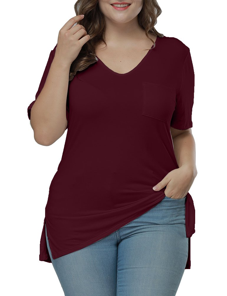 Allegrace Women's Plus Size Fashion Pocket Side Slit Summer Casual Tops T Shirts Wine Red 3X