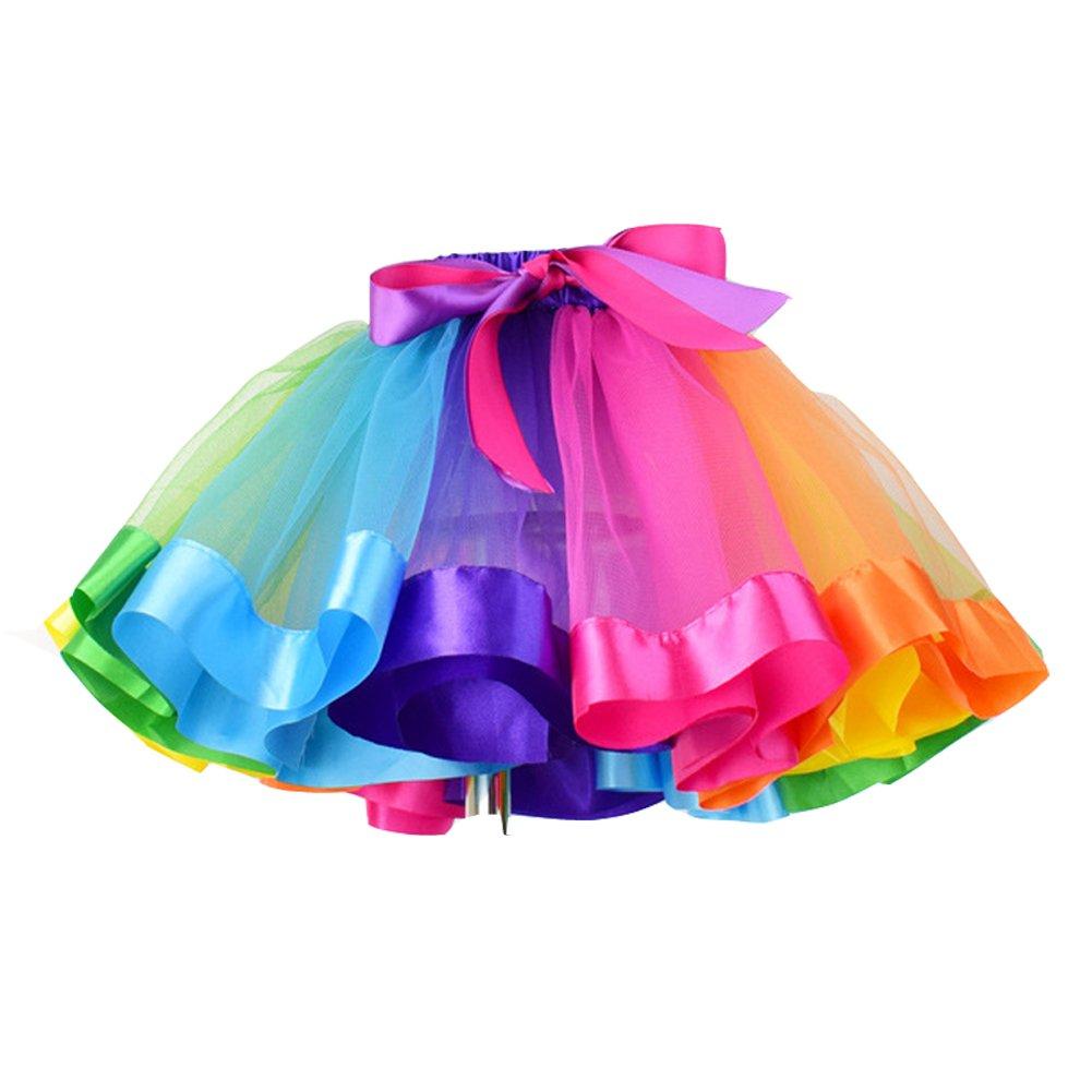 Izanoy Mädchen Regenbogen Petticoat Tutu Underskirt Slip